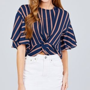 SHORT BELL SLEEVE ROUND NECK KNOT BACK BUTTON TOP